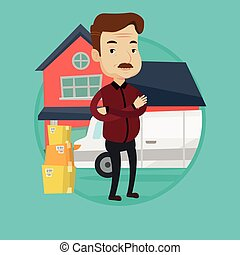 Man moving to house vector illustration. - An adult...