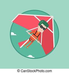 Man flying on hang-glider vector illustration. - Caucasian...
