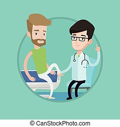 Gym doctor checking ankle of a patient. - Physiotherapist...