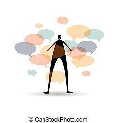 Noise - Conceptual vector cartoon illustration of a humanoid...