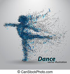 Silhouette of a dancing girl from particles. Background and...