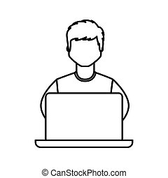 young man avatar character with laptop