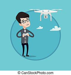 Man flying drone vector illustration. - Young man flying...