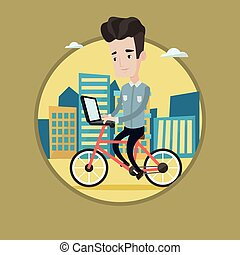 Man riding bicycle in the city vector illustration - Young...