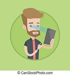 Man using iris scanner to unlock his mobile phone. - Hipster...