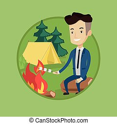 Businessman roasting marshmallow over campfire. - Happy...