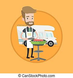 Man having barbecue in front of camper van. - Hipster man...