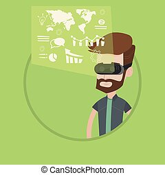 Businessman in vr headset analyzing virtual data. - Hipster...