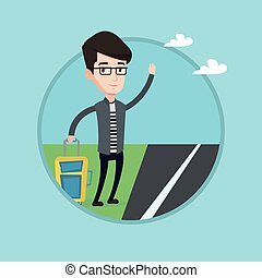 Young man hitchhiking vector illustration. - Young caucasian...