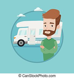 Man standing in front of motor home. - Hipster man with...