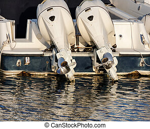 detail of outboard engine - outboard engine on my boat