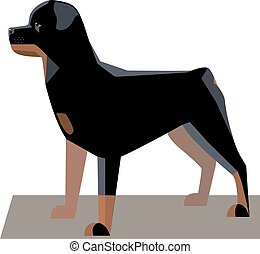 Rottweiler minimalist image - a large powerful dog of a tall...