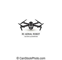 Isolated rc drone logo on white. UAV technology logotype....