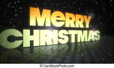Merry Christmas 3D Text With Snow Falling