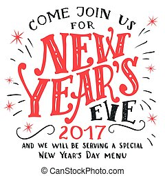 New Year's Eve 2017 invitation card