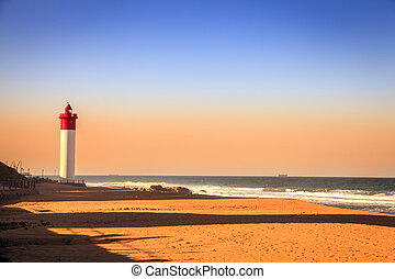 Umhlanga Lighthouse on the Indian Ocean Shore in Durban,...
