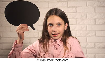 Teen girl with black talking cloud angry and unhappy telling...