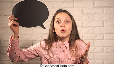 Teen girl with black talking cloud telling about something