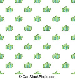 Green paintball glove pattern, cartoon style - Green...