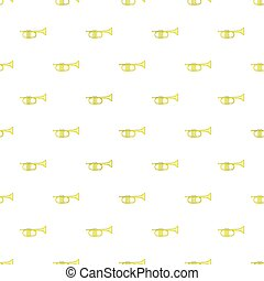 Brass trumpet pattern, cartoon style - Brass trumpet...
