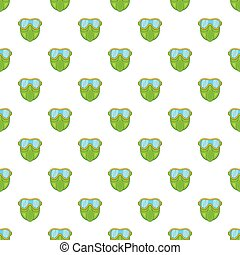 Green paintball mask pattern, cartoon style
