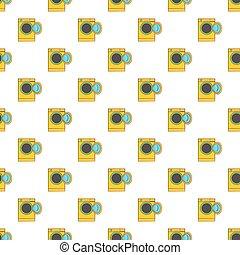 Yellow washing machine pattern, cartoon style - Yellow...