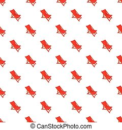 Red chaise lounge pattern, cartoon style - Red chaise lounge...