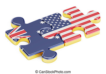 USA and Australia puzzles from flags, 3D rendering isolated...