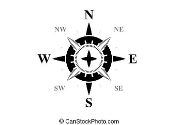 Black compass isolated on white