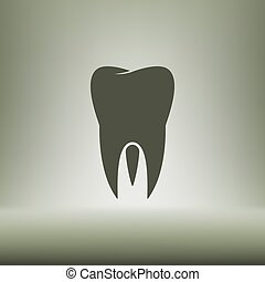 apartamento, estilo, corte, Símbolo, papel, dente, odontologia, ícone
