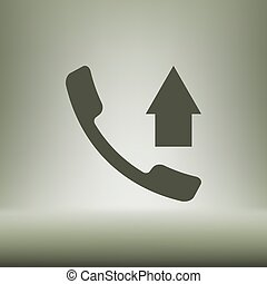 Flat paper cut style icon of out-coming call