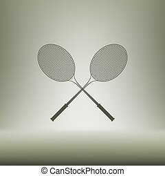 Tennis racket silhouettes vector icon