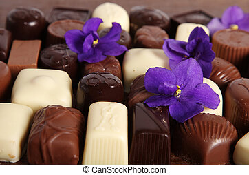 Chocolate candies - Set of assorted chocolate candies with...