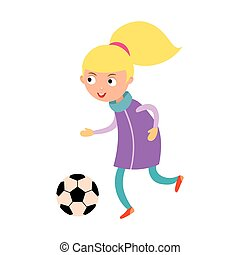 Young child girl playing football vector illustration