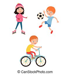 Young child boy and girl playing game illustration - Young...