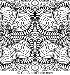 Abstract seamless background with doodle style, zen tangle...