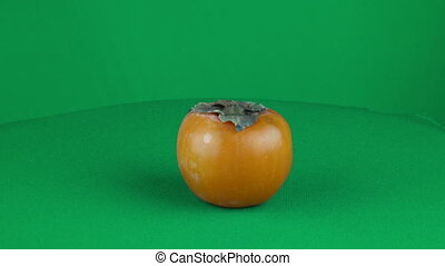 Red Persimmon Rotating in Green Screen Chroma Key Matte