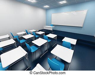 modern  classroom - modern classroom. 3d rendering