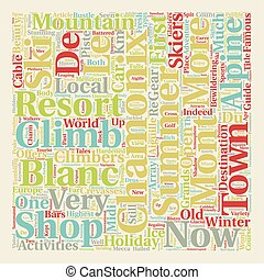 Chamonix Mont Blanc text background wordcloud concept