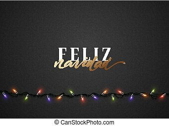 Merry Christmas. Spanish inscription. Feliz Navidad....