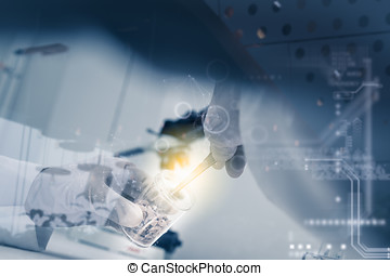 Double exposure of scientist with equipment and science...