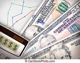 Money Graph - Three money bills in front of sheet of paper...