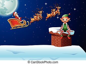 Santa Clause riding his reindeer sleight with little elf
