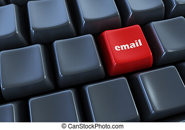 keyboard with email button 3d rendering
