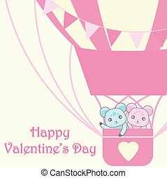 Valentine's day illustration with cute couple bears in pink hot air balloon