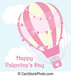 Valentine's day illustration with cute couple bears in pink hot air balloon on sky background