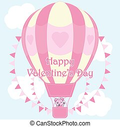 Valentine's day illustration with cute bear in pink hot air balloon on sky background