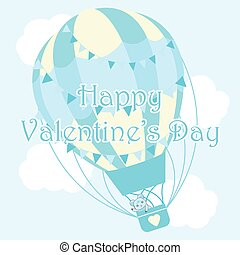 Valentine's day illustration with cute bear in blue hot air balloon on sky background