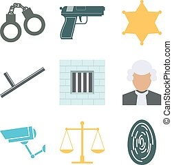 Crime and police icons set. Flat Design. Vector illustration