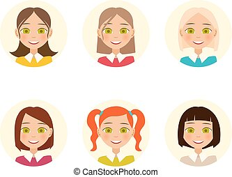 Womens faces. Woman with different hair color and different...